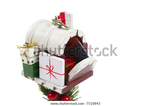 Christmas Mailbox.Christmas Mailbox Tree Ornament Isolated Against Stock Photo