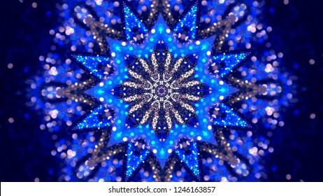 Christmas mandala-snowflake kaleidoscope sequence. Abstract background. Kaleidoscopic. Mirror prism, toy effect