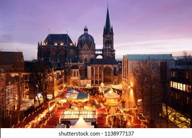 "Christmas Market ""Aachener Weihnachtsmarkt"" in Aachen, Germany at night"