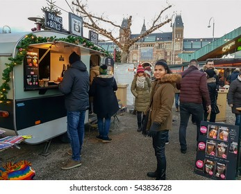 Christmas market Amsterdam Rijksmuseum square Netherlands December 2016