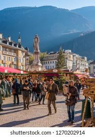 Christmas market in Bolzano on a sunny winter day. Trentino Alto Adige, Italy. December-12-2018