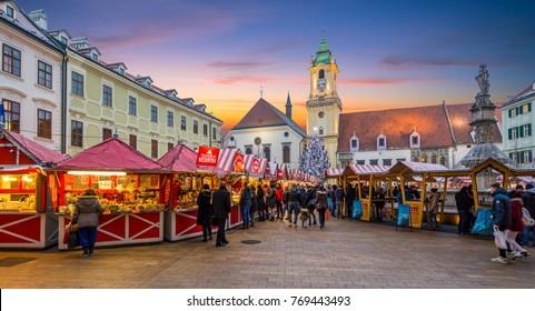 Christmas market in Bratislava main Square at sunset, Slovakia, December-22-2015