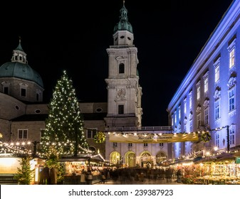 christmas market with cathedral and the residence