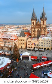 Christmas market at central square in Prague, aerial view.