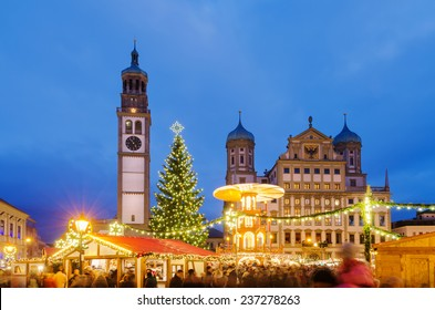 Christmas market (Christkindlmarkt) at the central district of Augsburg, Bavaria, Germany