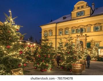 Christmas Market, Christkindlmarkt Hellbrunn Palace, Hellbrunn Advent Magic, Salzburg, Austria, Europe, 19. December 2017