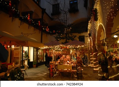 Christmas market in a courtyard in Salzburg, Austria