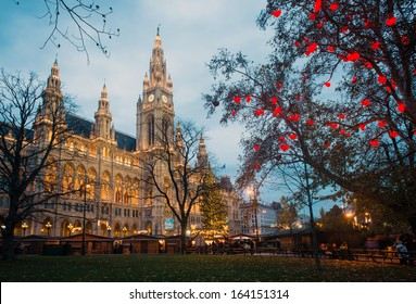 Christmas market with decoration near Vienna's City Hall (Rathaus), Austria