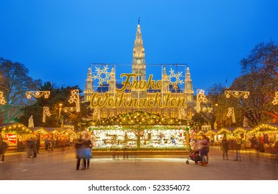 Christmas market and decoration in Vienna park and City Hall (Rathaus), Austria,Vienna