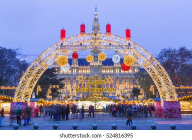 Christmas market and decoration in Vienna park next to City Hall (Rathaus), Austria,Vienna