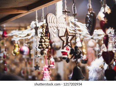 Christmas market fair kiosk with handcrafted wooden christmas decorations