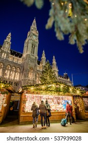 Christmas market in fornt of the City Hall (Rathaus), Austria, Wien