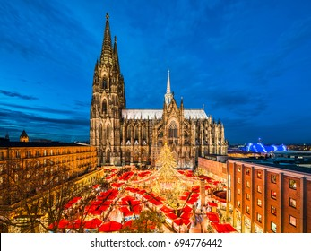 Christmas market in front of the Cathedral of Cologne, Germany