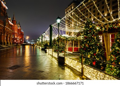 Christmas Market in front of the State Historical Museum, Moscow, Russia