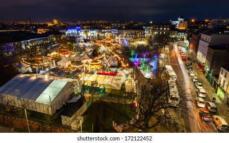 Christmas market in Galway at night, panoramic view from high point.