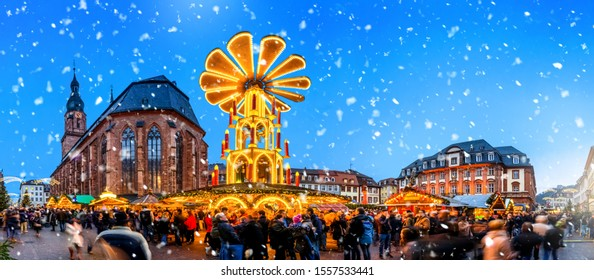 Weihnachtsmarkt in Heidelberg, Baden-Württemberg, Deutschland