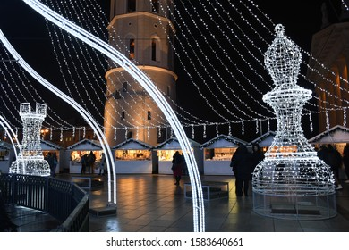 Christmas market with lights, Vilnius Cathedral square with stands or stalls, market cancelled due to Covid or Coronavirus outbreak