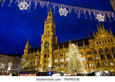 Christmas Market at Marienplatz in Munich, Bavaria, Germany, Europe