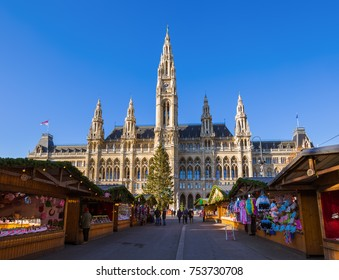 Christmas Market near City Hall in Vienna Austria - cityscape holiday background