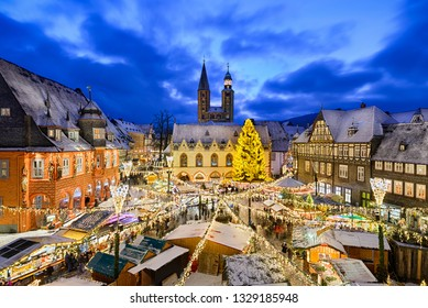 Christmas market at night in Goslar, Germany