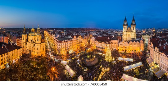 Christmas market in the old town of Prague, Czech Republic