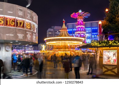 Christmas market on Alexanderplatz in Berlin, Germany