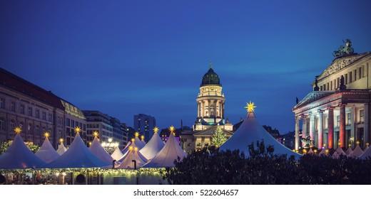 Christmas Market on Gendarmenmarkt in Berlin, Germany, Europe, Vintage filtered style