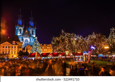 Christmas market on the night in Old Town Square, Prague, Czech Republic