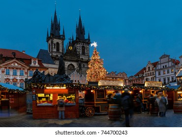 Christmas market on the Old town square in Prague - Czech Republic