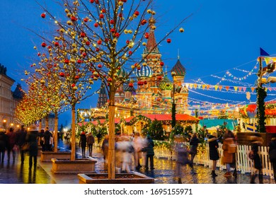 Christmas Market on the Red Square with Saint Basil's Cathedral on the background, Moscow, Russia