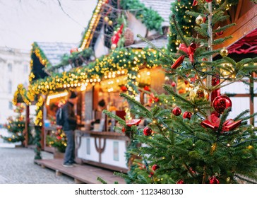 Christmas Market at Opernpalais at Mitte in Winter Berlin, Germany. Advent Fair Decoration and Stalls with Crafts Items on the Bazaar.