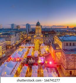 Christmas Market Panorama Skyline on Gendarmenmarkt in Berlin, Germany, Europe