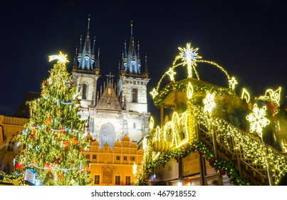 Christmas market in Prague at evening, Czech republic