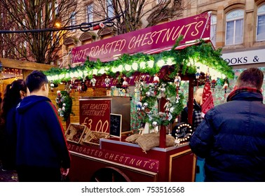 Christmas market stalls at St Enoch Centre in Glasgow, Scotland UK. November 2017