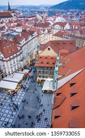Christmas Market stands near the Old Town Square in Prague, Czech Republic, Europe