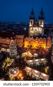 Christmas Market stands in the Old Town Square in Prague, Czech Republic, Europe