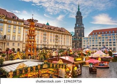 Christmas market Striezelmarkt in Dresden, Germany.