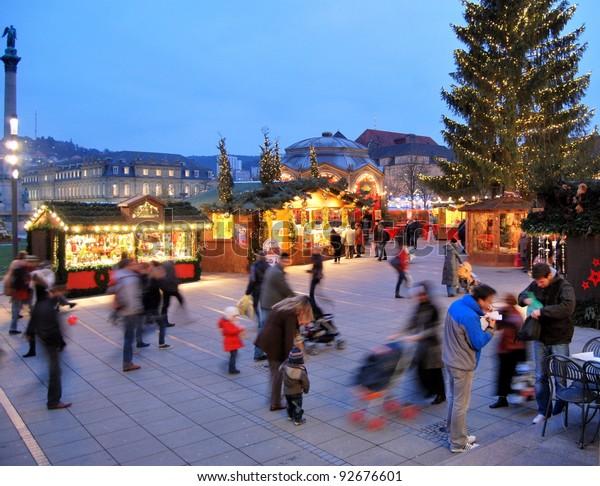 Christmas In Stuttgart Germany.Christmas Market Stuttgart Germany Stock Photo Edit Now