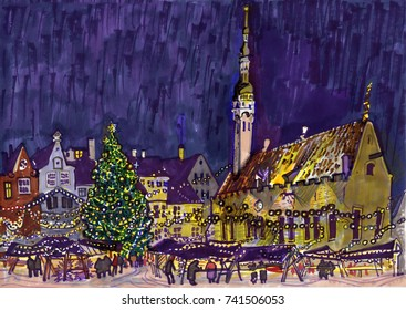 Christmas Market at the Town Hall square. Night, medieval buildings, christmas tree. Tallinn old town, Estonia. Hand-drawn sketchy style illustration. For postcard, greeting card, travel guide design.