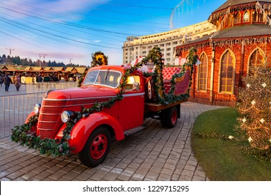 Christmas market, traditional historic Christmas van in Bucharest city
