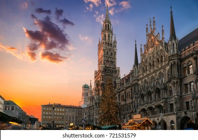 Christmas market and tree at the Marienplatz in Munich, Germany, during sunset