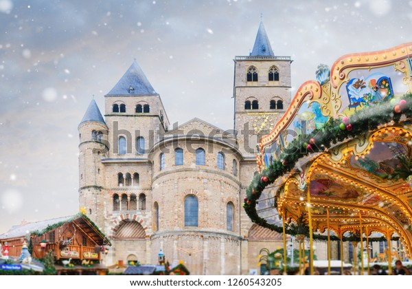 Christmas market in Trier -  Germany. Old town in winter.