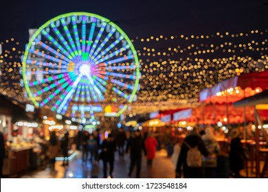 Christmas Market, Ukraine, Kiev, Podil, January 9, 2020. Defocus. Abstraction of the New Year holiday.