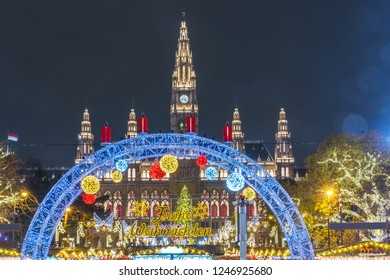 Christmas market in Vienna, Austria, Europe in the night