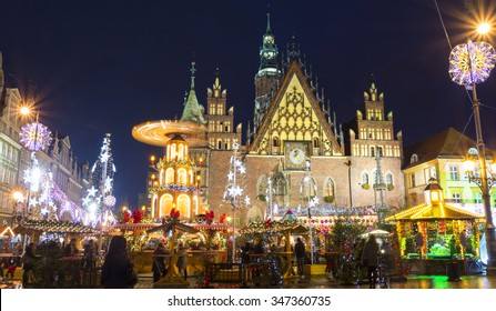 christmas market in Wroclaw at evening, Poland, Europe