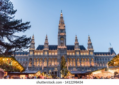 Christmas Market,Vienna Austria-December-29,2017:The souvenir shops and food shops are for tourist,and architecture building