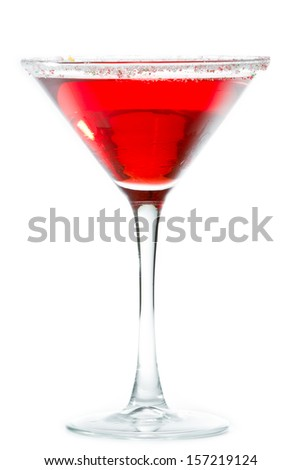 christmas martini isolated on a white background garnished with sugar rim in different colors - White Christmas Martini