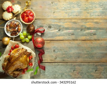 Christmas meal background with space