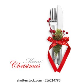 Christmas menu concept with red bow and fir branches isolated