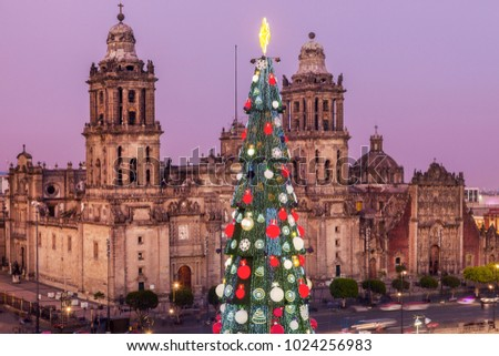 Christmas in Mexico City - Metropolitan Cathedral and Christmas tree on Zocalo square. Mexico City, Mexico.